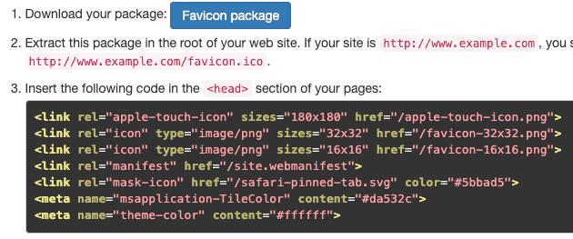 Код для вставки Favicon