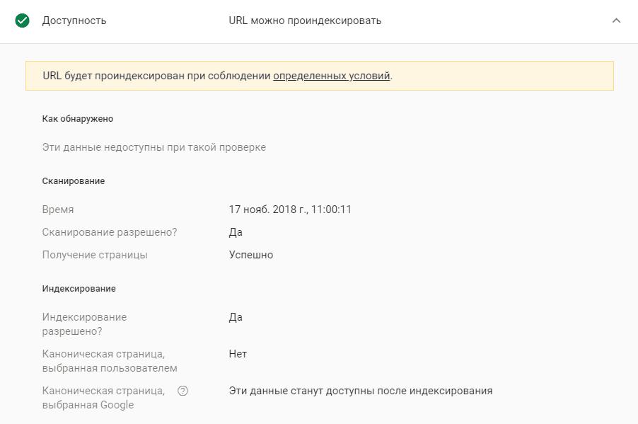 Внутреннее содержимое блока доступности в Google Search Console